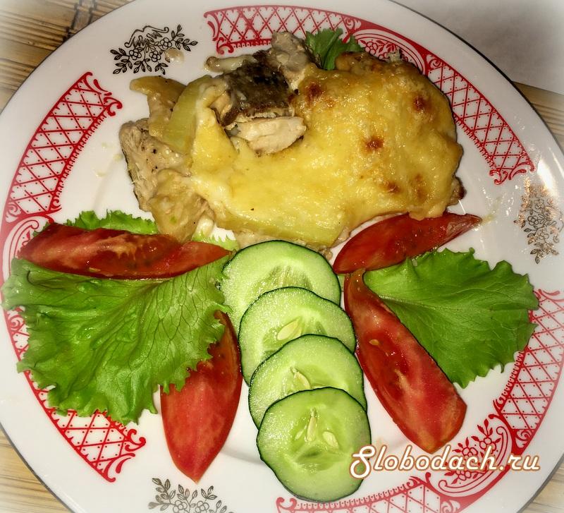 Лакедра, запеченная с картофелем