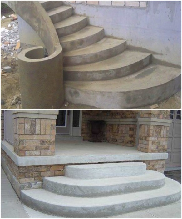 Крыльцо из бетона может быть любой формы. | Фото: vest-beton.ru.