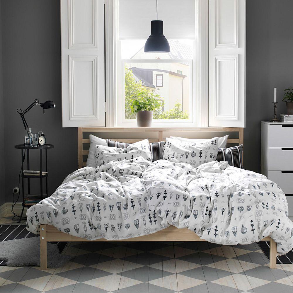 Дизайнерский интерьер спальни - пол с узором в ромб