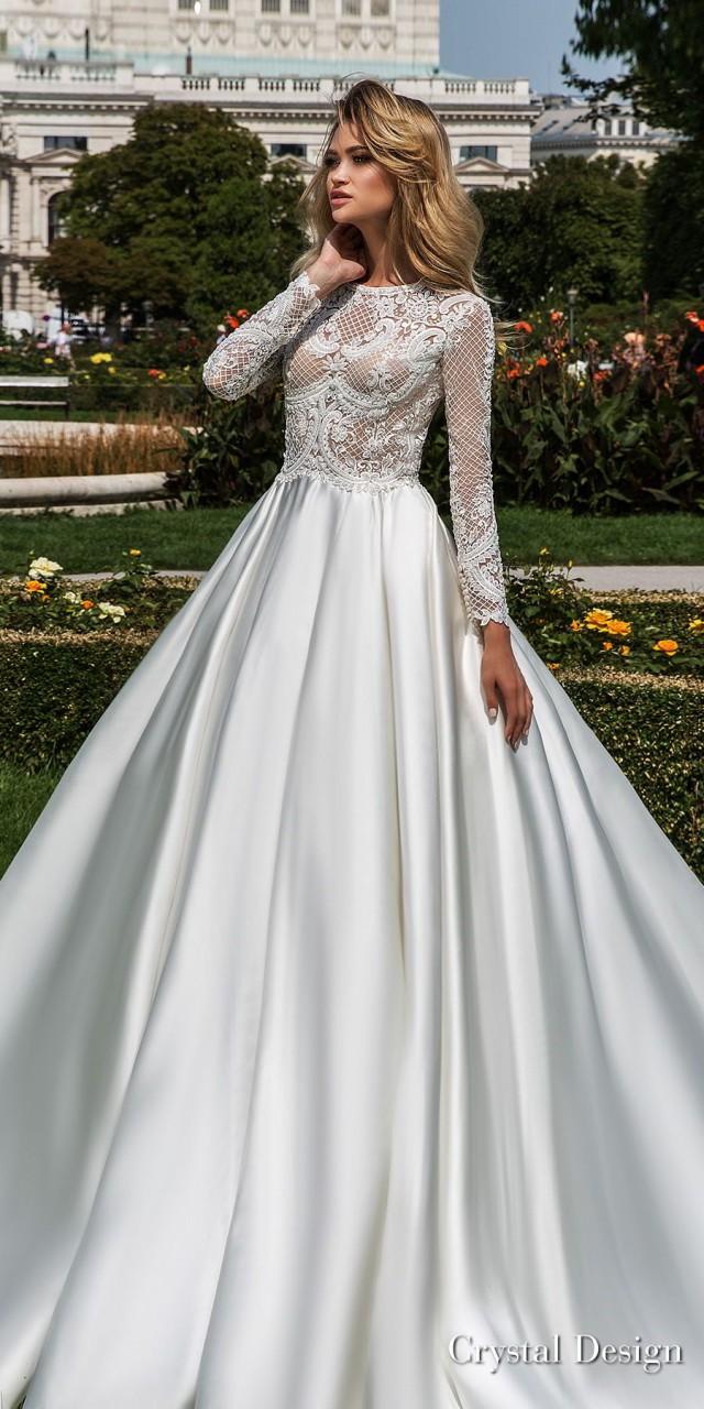 crystal design 2018 long sleeves jewel neck heavily embellished bodice satin modest a line wedding dress covered lace back royal train (dilma) mv
