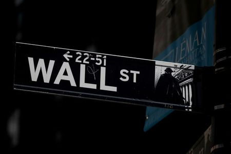 FILE PHOTO: A Wall St. street sign is seen near the New York Stock Exchange (NYSE) in New York City, U.S., September 17, 2019. REUTERS/Brendan McDermid/File Photo/File Photo