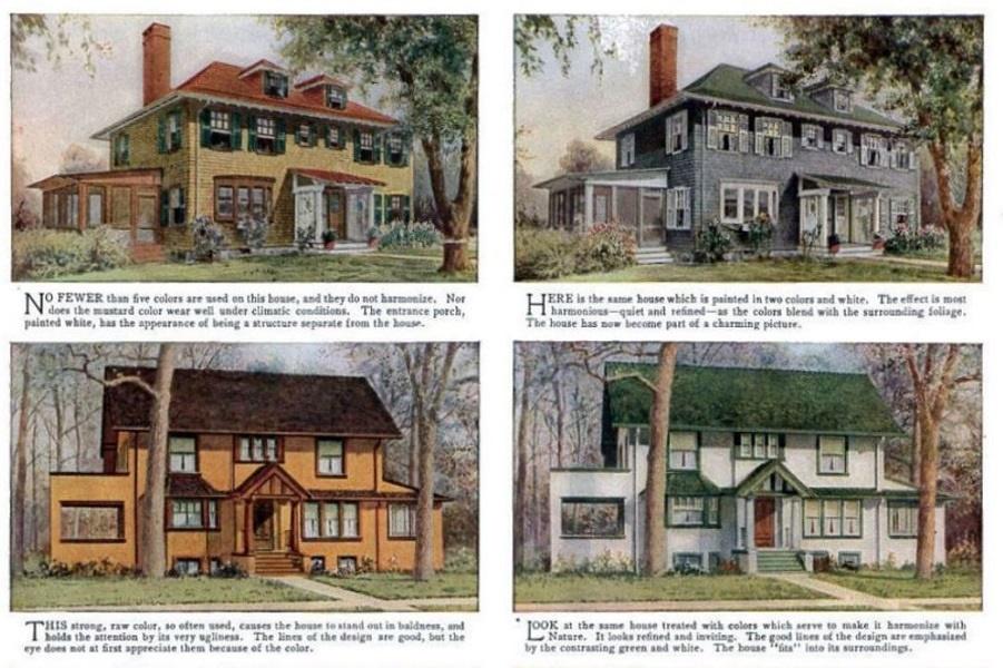 Неправильные и правильные цвета для дома по мнению журнала 1912 года