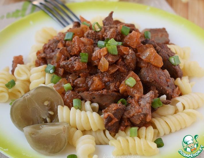 Куриная печень с солёными помидорами еда,пища,рецепты, горячие блюда
