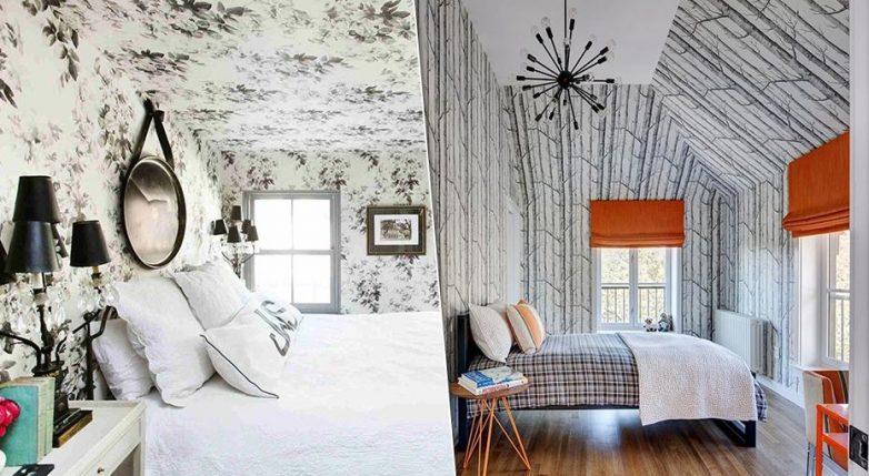 12 отличных идей поклейки обоев на потолок