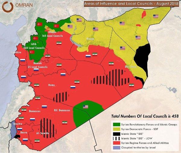 Расположение иностранных военных в Арабской Республике, август 2018