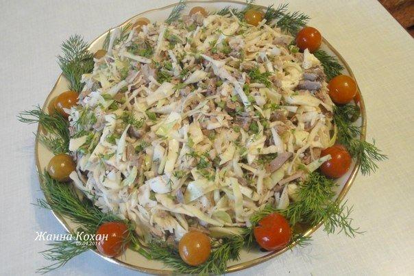 Печёночный салат с капустой — вкусно и необычно