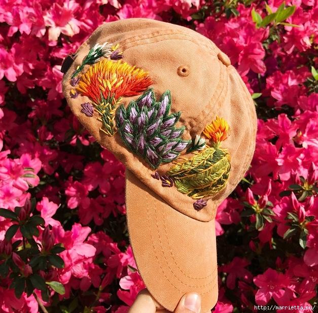 Вышивка на кепке. Идеи декорирования (6) (627x617, 380Kb)