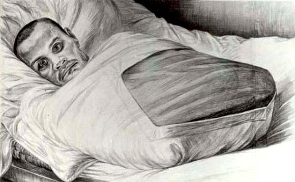 «Невідомий солдат».  Ніхто нічого не знає про життя цієї людини.  В результаті найтяжчого поранення він втратив руки і ноги, позбувся мови і слуху.  Війна залишила йому тільки можливість бачити.  Малюнок зроблений на острові Валаам у 1974 році, куди радянська влада примусово заслала всіх калік війни.