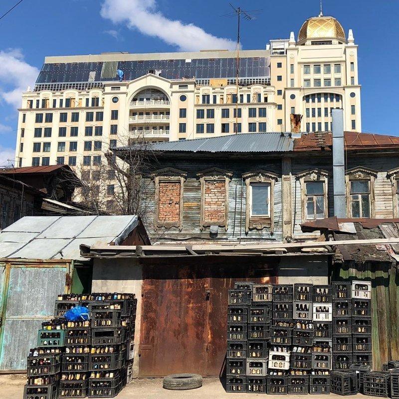 Городские контрасты архитектура, город, здания, контраст, эстетика