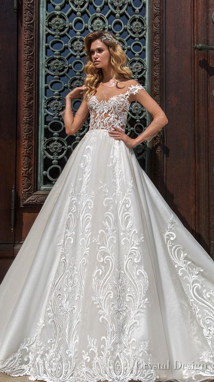 crystal design 2018 long sheer sleeves sweetheart neckline full embellishment princess a line wedding dress keyhole back chapel train (gabriella) mv