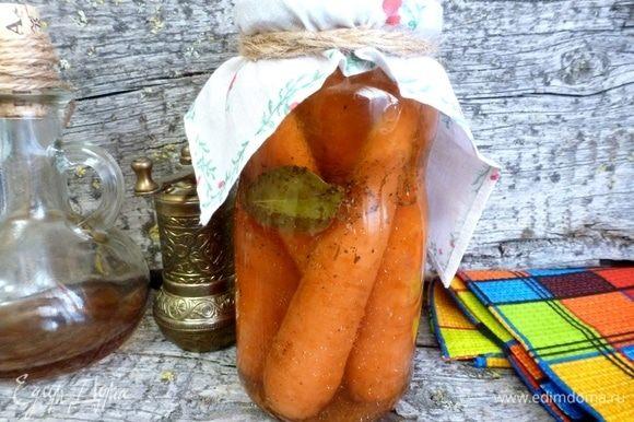 Маринованная морковь по-итальянски будет готова через месяц, тогда ее можно будет продегустировать. Вкусных вам заготовок!