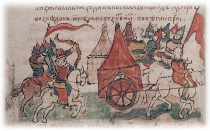 Набег половцев в 1093 году. Иллюстрация из Радзивилловской летописи./Фото: i.pinimg.com