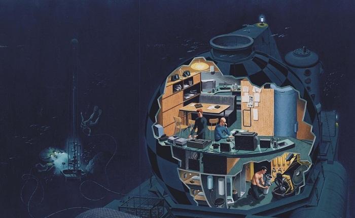 Подводная капсула ConShelf II, спроектированная Ж-И. Кусто. | Фото: fishki.net.
