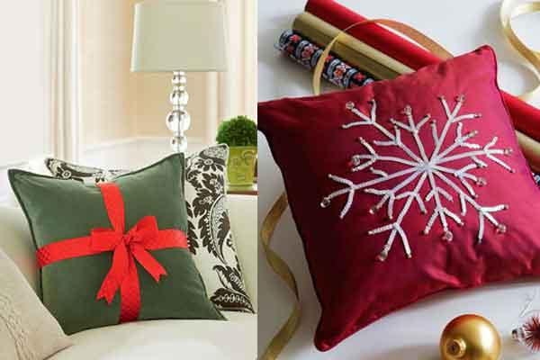 Идеи украшения подушек к Новому году!