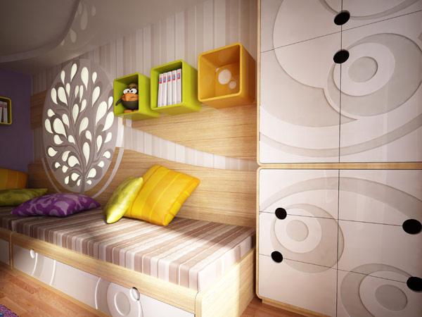 Интересный дизайн для узкой вытянутой комнаты