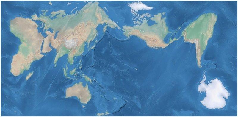 7. Вот как выглядела бы обыкновенная карта без искажения размеров материков и островов. Как будто бы мир немного расплавился в мире, познавательно, удивительно, фото, фотомир