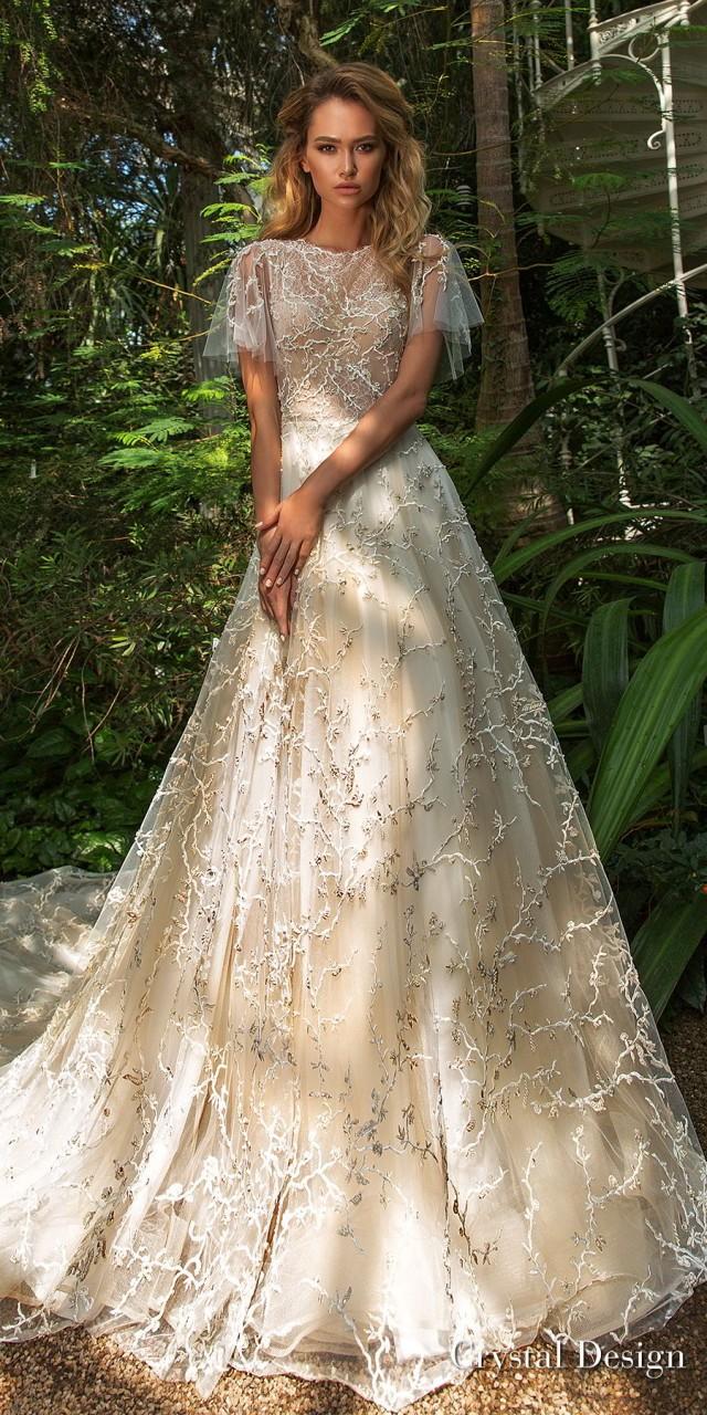 crystal design 2018 short handkerchief sleeves jewel neck full embellishment romantic bohemian a line wedding dress sheer lace back chapel train (tammy) mv