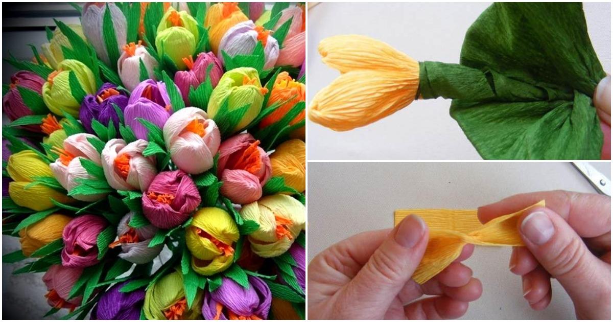 Из гофрированной бумаги можно сделать цветы, которые выглядят как настоящие