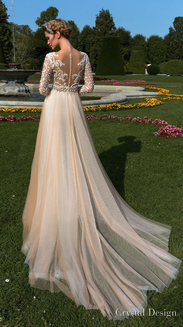 crystal design 2018 long sleeves v neck heavily embellished bodice tulle skirt romantic champagne color soft a line wedding dress sheer button back chapel train (hadlee) bv