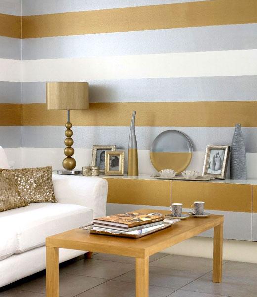 горизонтальные полосы в интерьере комнаты