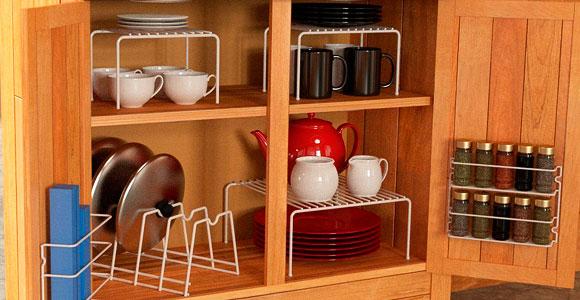 Металлические стойки для хранения кухонной посуды в ящиках