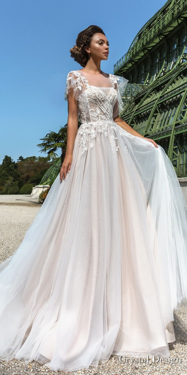 crystal design 2018 short handkerchief sleeves sheer jewel straight across neck heavily embellished bodice romantic soft a line wedding dress chapel train (brea) mv