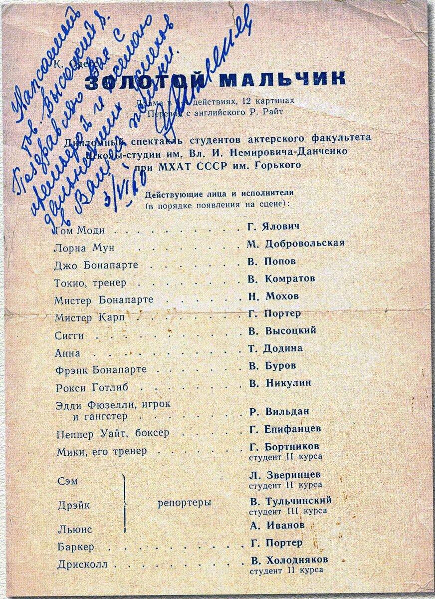 Владимир Высоцкий в студенческие годы