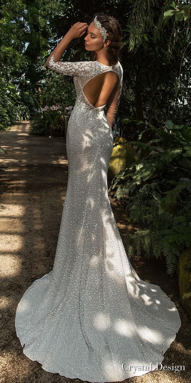 crystal design 2018 three quarter sleeves deep v neck full embellishment elegant fit and flare wedding dress keyhole back sweep train (mireya) bv