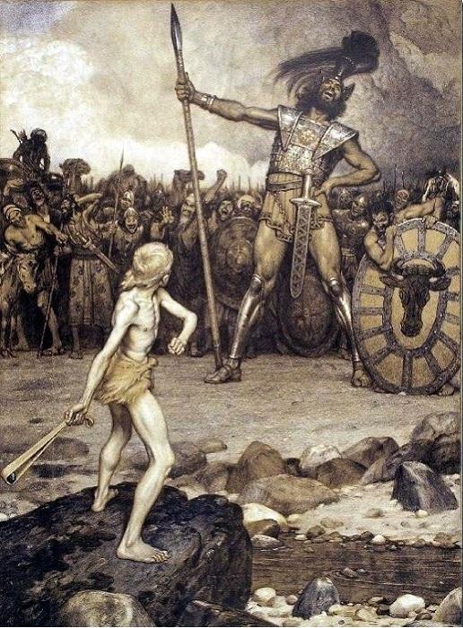 Давид и Голиаф. (1888). Автор: Осмар Шиндлер.