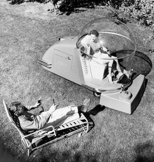 Роскошная газонокосилка с кондиционером. 1950-е годы история, ретро, фотографии