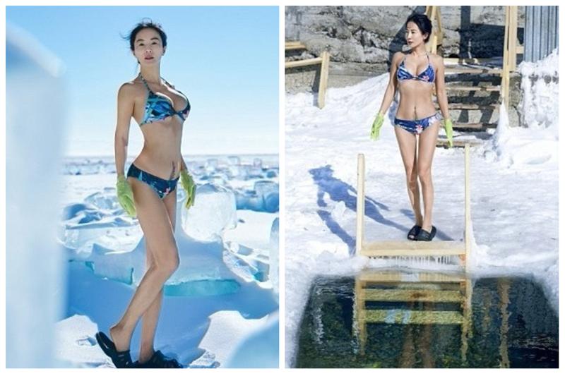 Она любит экстремальные виды спорта и увлекается закаливанием Лю Елин, байкал, возраст, купальник, молодость, сибирь, фотосессия