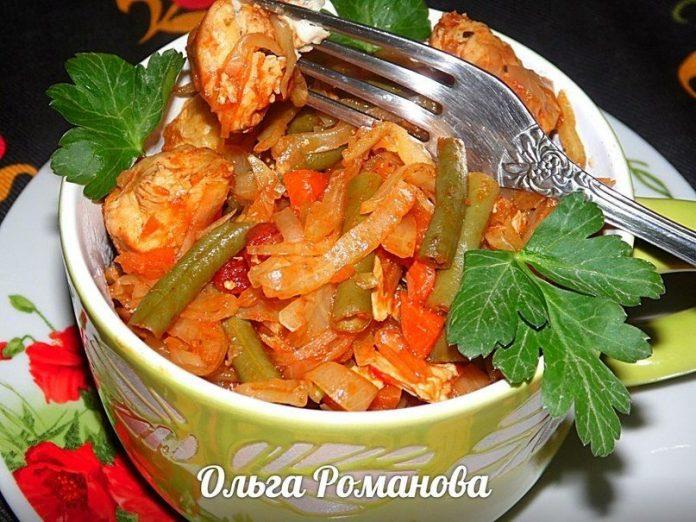 Непревзойденное блюдо — капуста тушенная с куриной грудкой и стручковой фасолью