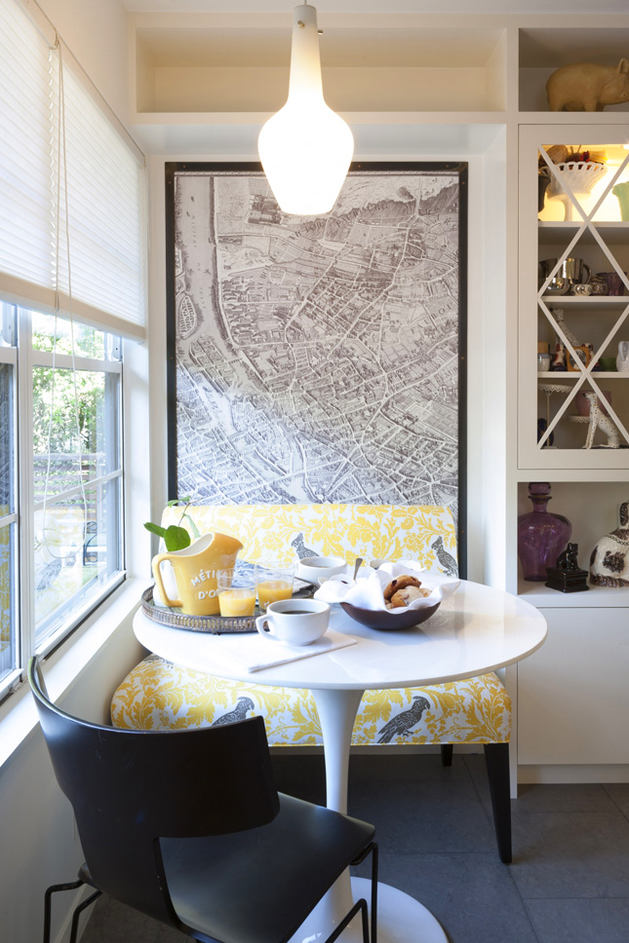 Кухня в цветах: желтый, черный, белый. Кухня в стилях: минимализм.