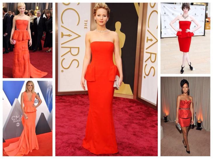 платья красных оттенков на красной дорожке