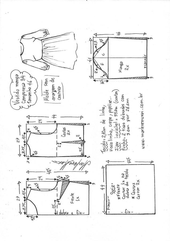 Выкройка платья с рукавами 34 выкройка платья,одежда,рукоделие