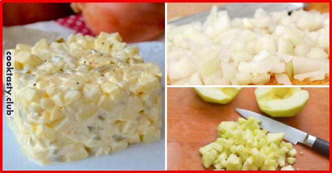 Польский луковый салат с яблоками