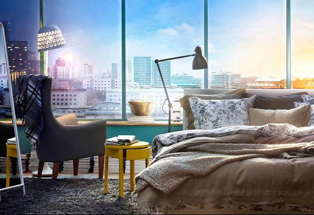 Дизайнерские интерьеры спален - яркие цвета предметов декора