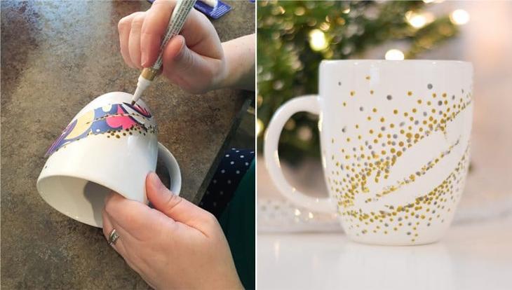 Точечная ропись кружки с помощью самодельного трафарета и маркера для керамики