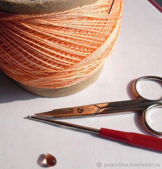 Вяжем цветок-подвеску с бусиной-каплей вязание,подвеска