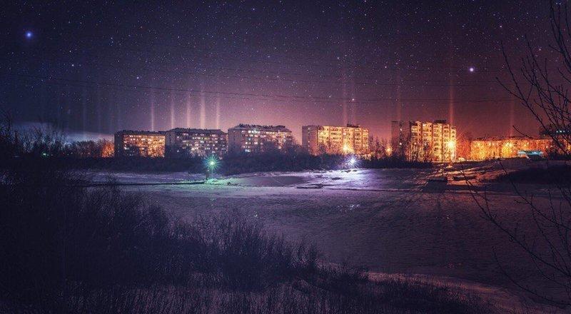 Нашествие НЛО? город, природные эффекты, свет, световой столб, техногенные эффекты, эстетика