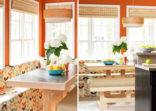 Кухня в цветах: оранжевый, темно-коричневый, бежевый. Кухня в стилях: американский стиль.