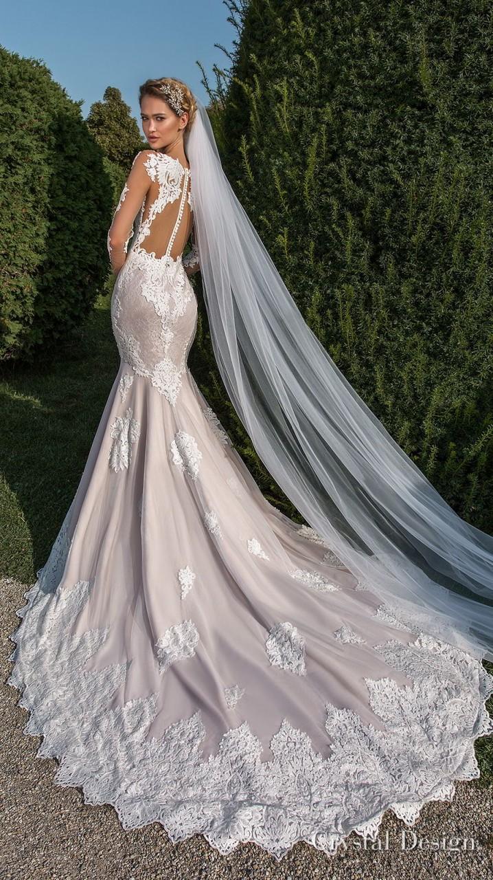 crystal design 2018 long sleeves sweetheart neckline full embellishment elegant fit and flare wedding dress sheer button back chapel train (passion) bv