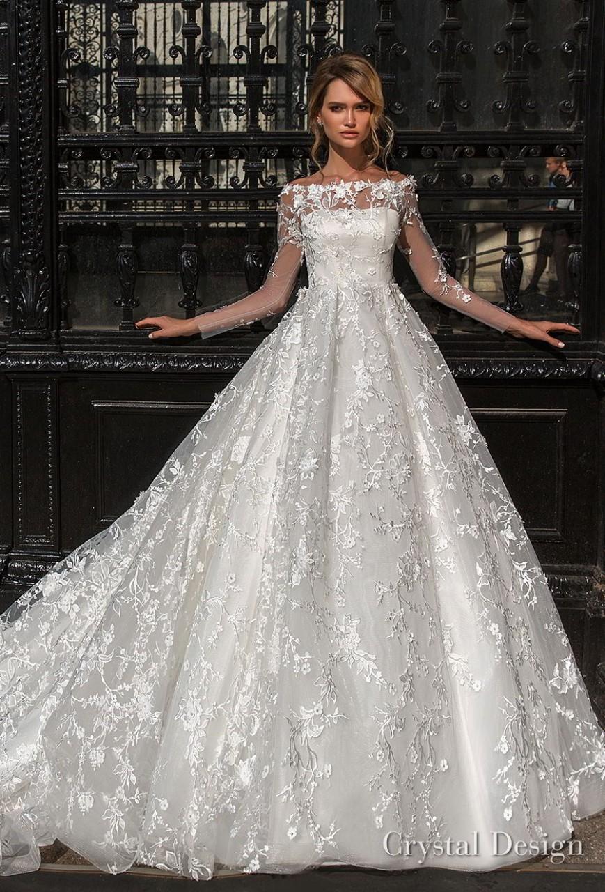 crystal design 2018 long sleeves illusion off the shoulder full embellishment romantic a line wedding dress lace back royal train (kayla) mv