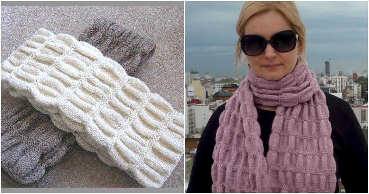Объемный шарф с узором гармошка