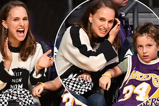 Натали Портман сводила сына Алефа на баскетбольный матч
