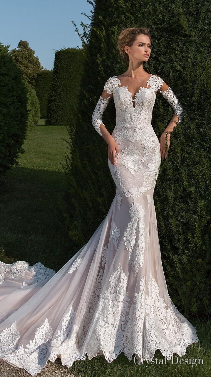 crystal design 2018 long sleeves sweetheart neckline full embellishment elegant fit and flare wedding dress sheer button back chapel train (passion) mv