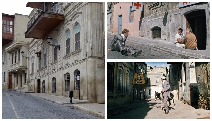 Самые интересные «заграничные» сцены кинокомедии «Бриллиантовая рука» снимали на улицах Баку (Азербайджан).