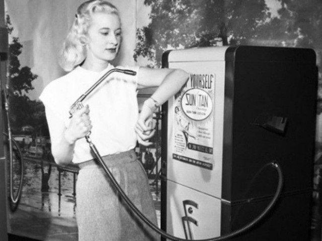 Автомат для нанесения автозагара, 1949 год история, ретро, фотографии