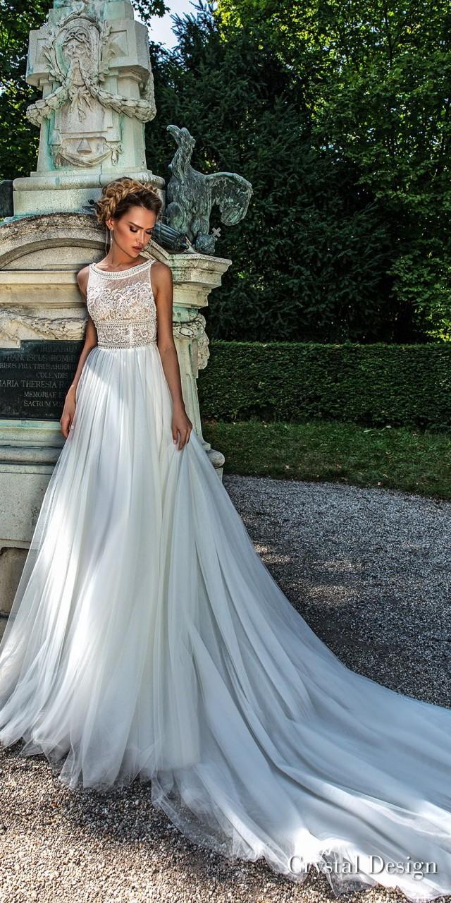 crystal design 2018 sleeveless bateau neckline heavily embellished bodice romantic a line wedding dress open strap back chapel train (buffy) mv