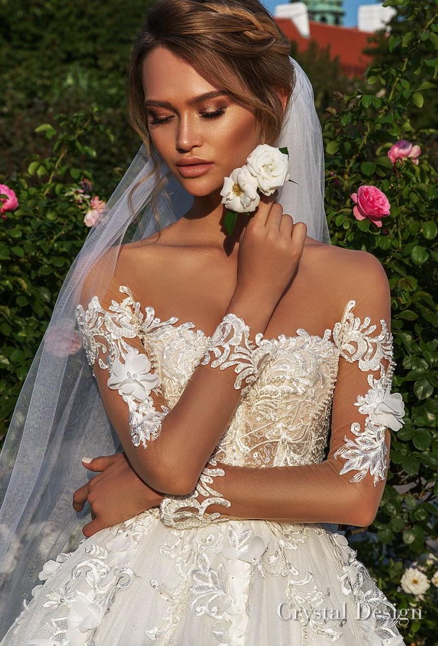 crystal design 2018 long sleeves sweetheart neckline heavily embellished bodice princess a line wedding dress chapel train (octavia) zv